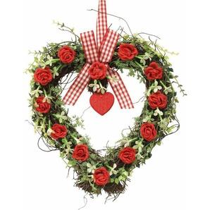 Kunstpflanze »Rattan-Herz Rosen 27 cm«