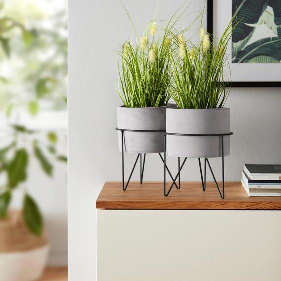 Kunstpflanze (Set, 2 Stück), ohne Übertöpfe mit Metallgestell 15x15x32 cm grün Zimmerpflanzen Pflanzen Garten Balkon Kunstpflanzen