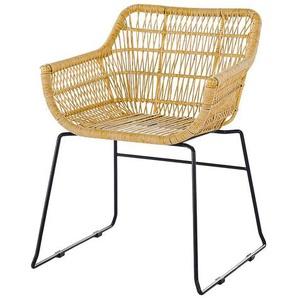 Kunstrattan Stühle in Beige Metallbügeln (2er Set)