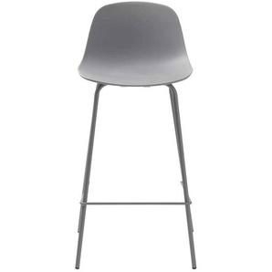 Kunststoff Barstühle in Grau 4-Fuß Gestell aus Metall (2er Set)