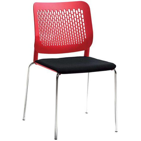 Kunststoff Esstischstuhl in Rot und Anthrazit modern