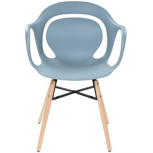 Kunststoff Esszimmerstuhl in hell Blau Massivholzgestell (4er Set)