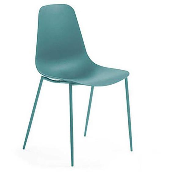 Kunststoff Küchenstühle in Blau Metallgestell (4er Set)