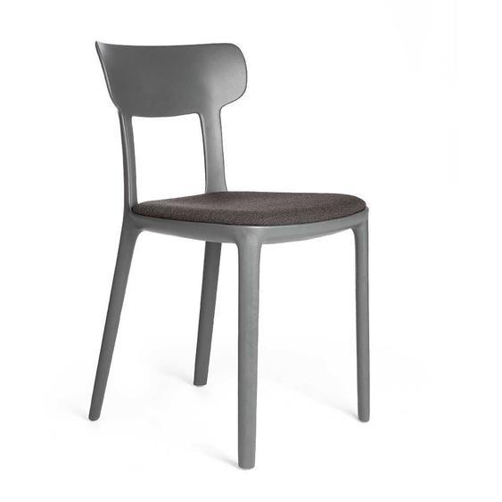 Kunststoff Küchenstuhl in Anthrazit gepolsterter Sitzfläche (2er Set)
