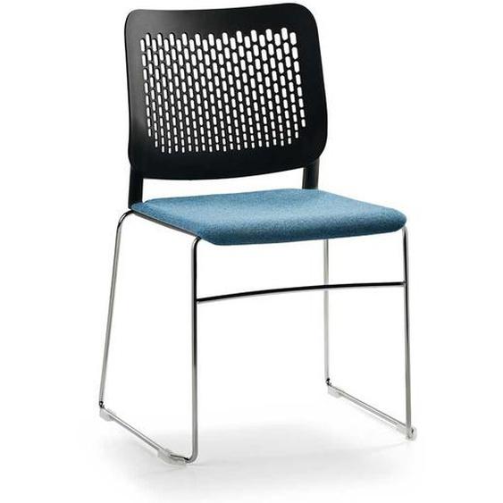 Kunststoff Küchenstuhl in Schwarz und Blau modern