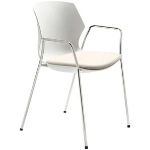 Kunststoff Küchenstuhl in Weiß Armlehnen