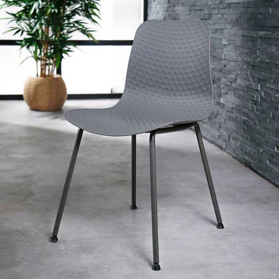 Kunststoff Stühle in Grau Metallgestell (4er Set)