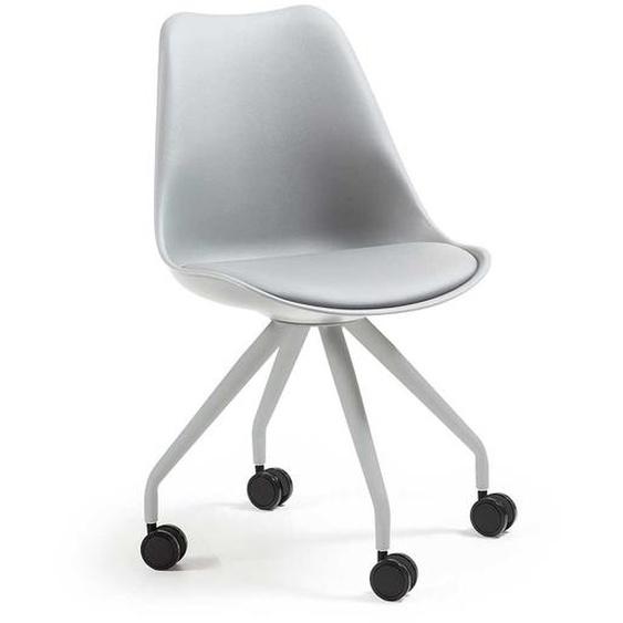 Kunststoff Stühle in Grau Rollen (2er Set)