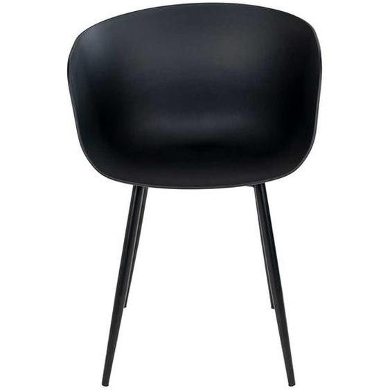Kunststoff Stühle in Schwarz Gestell aus Metall (2er Set)
