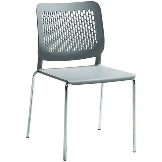 Kunststoff Stuhl in Grau Metallgestell