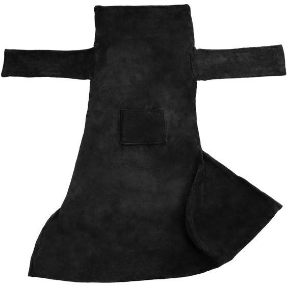 Kuscheldecke mit Ärmeln - schwarz, 200 x 170 cm