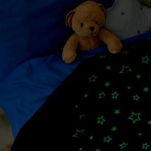 Kuscheldecke mit Leuchteffekt - dunkelblau - Wolle -