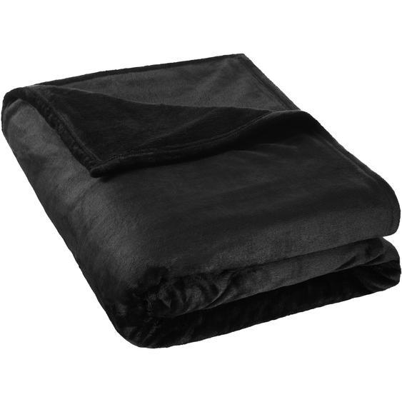 Kuscheldecke Polyester - schwarz, 220 x 240 cm