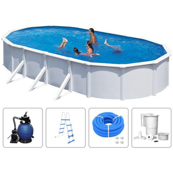 KWAD Schwimmbad-Set Steely Deluxe Oval 6,1 x 3,6 x 1,2 m