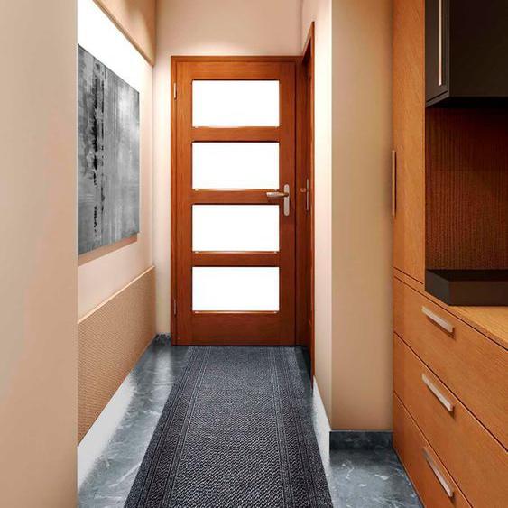 Läufer, AZTEC, Primaflor-Ideen in Textil, rechteckig, Höhe 7 mm, maschinell gewebt 66x1750 cm, mm grau Teppichläufer Läufer Bettumrandungen Teppiche