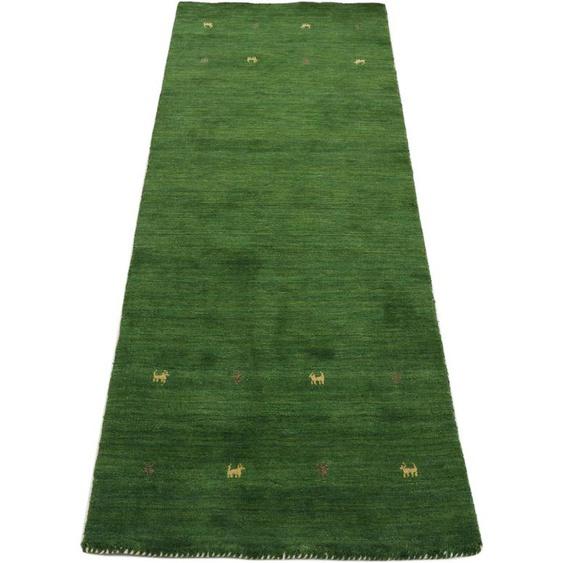 Läufer, Gabbeh Uni, carpetfine, rechteckig, Höhe 15 mm, handgewebt 80x300 cm, mm grün Teppichläufer Läufer Bettumrandungen Teppiche