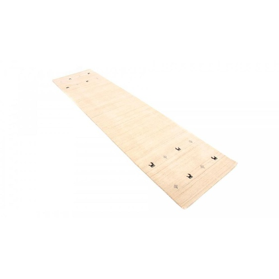 Läufer, Gabbeh Uni, carpetfine, rechteckig, Höhe 15 mm, handgewebt 80x300 cm, mm weiß Teppichläufer Läufer Bettumrandungen Teppiche