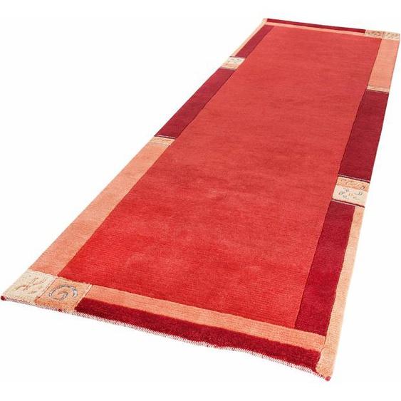 Läufer, India, LUXOR living, rechteckig, Höhe 20 mm, manuell geknüpft 12, 80x200 cm, mm rot Teppichläufer Läufer Bettumrandungen Teppiche