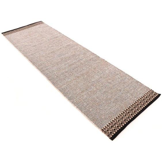 Läufer, Kelim Mia, carpetfine, rechteckig, Höhe 6 mm, handgewebt 80x300 cm, mm beige Kurzflor-Läufer Läufer Bettumrandungen Teppiche