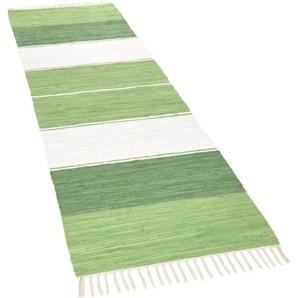 Läufer »Stripe Cn«, THEKO, rechteckig, Höhe 5 mm, Teppich-Läufer, Flachgewebe, reine Baumwolle, handgewebt, mit Fransen