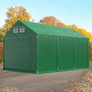 Lagerzelt 3x6 m - 2,6 m Seitenhöhe, PVC 550 g/m², mit Bodenrahmen dunkelgrün | ohne Statik