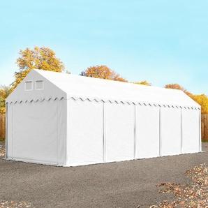 Lagerzelt 4x10 m - 2,6 m Seitenhöhe, PVC 550 g/m², mit Bodenrahmen weiß | mit Statik (Betonuntergrund)