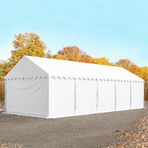 Lagerzelt 4x10 m, PVC 500 g/m², mit Bodenrahmen, weiß