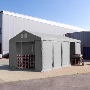 Lagerzelt 4x10m - 3,0 m Seitenhöhe mit Reißverschlusstor, PVC grau | ohne Statik