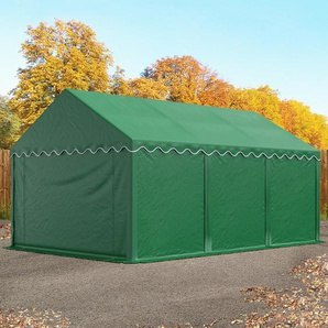 Lagerzelt 4x6 m, PVC 500 g/m², mit Bodenrahmen dunkelgrün