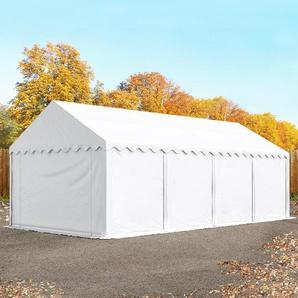 Lagerzelt 4x8 m, PVC 500 g/m², mit Bodenrahmen weiß