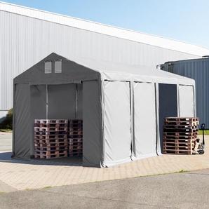Lagerzelt 4x8m - 3,0 m Seitenhöhe mit Reißverschlusstor, PVC grau | ohne Statik
