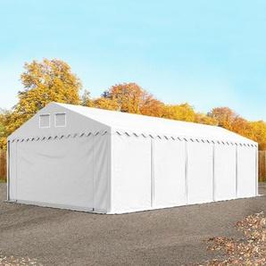 Lagerzelt 5x10 m - 2,6 m Seitenhöhe, PVC 550 g/m², mit Bodenrahmen weiß | ohne Statik