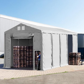 Lagerzelt 5x10m - 4,0 m Seitenhöhe mit Hochziehtor, PVC grau | mit Statik (Erduntergrund)
