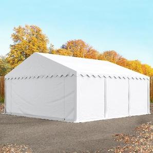 Lagerzelt 5x6 m, PVC 500 g/m², mit Bodenrahmen weiß