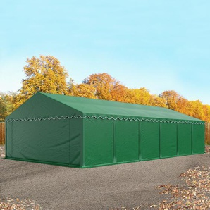 Lagerzelt 6x12 m, PVC 500 g/m², mit Bodenrahmen, feuersicher, dunkelgrün