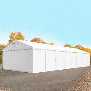 Lagerzelt 6x30 m - 2,6 m Seitenhöhe, PVC 550 g/m², mit Bodenrahmen weiß weiß | mit Statik (Erduntergrund)