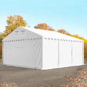 Lagerzelt 6x6 m - 2,6 m Seitenhöhe, PVC 550 g/m², mit Bodenrahmen weiß | mit Statik (Betonuntergrund)