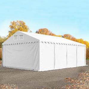 Lagerzelt 6x8 m - 2,6 m Seitenhöhe, PVC 550 g/m², mit Bodenrahmen, feuersicher weiß | ohne Statik