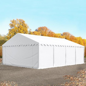 Lagerzelt 6x8 m, PVC 500 g/m², mit Bodenrahmen, weiß