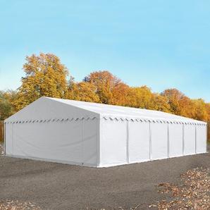 Lagerzelt 8x12 m, PVC 500 g/m², mit Bodenrahmen, weiß