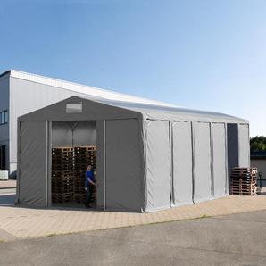 Lagerzelt 8x12m - 3,6 m Seitenhöhe mit Schiebetor und Oberlichtern, PVC grau | mit Statik (Erduntergrund)
