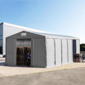 Lagerzelt 8x12m - 4,0 m Seitenhöhe mit Schiebetor und Oberlichtern, PVC grau | ohne Statik