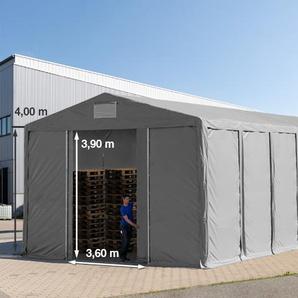 Lagerzelt 8x24m - 4,0 m Seitenhöhe mit Schiebetor, PVC grau   mit Statik (Betonuntergrund)