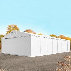 Lagerzelt 8x36 m - 2,6 m Seitenhöhe, PVC 550 g/m², mit Bodenrahmen weiß | mit Statik (Erduntergrund)