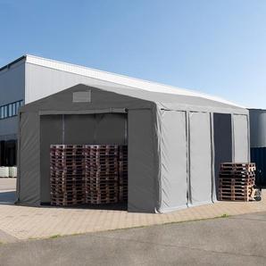 Lagerzelt 8x8m - 3,6 m Seitenhöhe mit Reißverschlusstor, PVC grau | ohne Statik