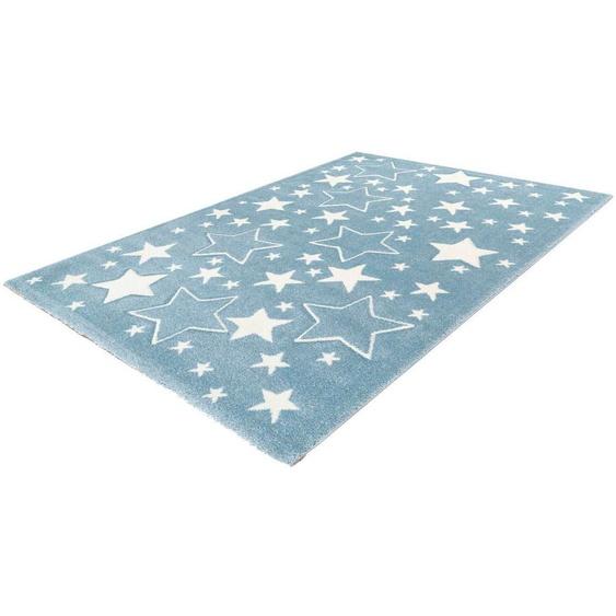 LALEE Kinderteppich Amigo 329, rechteckig, 15 mm Höhe, Sterne im Konturenschnitt 2, 80x150 cm, blau Kinder Kinderteppiche mit Motiv Teppiche