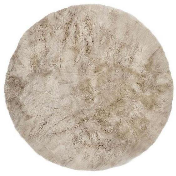 Lammfell-Teppich beige, rund, Ø140 cm - Neuseeland