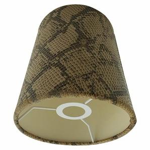 Lampenschirm Tischlampe Braun Stoff Leder E14 Schlange Muster