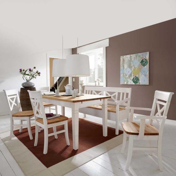 Landhaus Esszimmermöbel in Weiß (6-teilig)