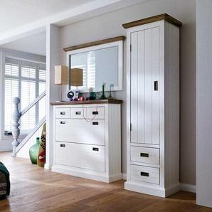 Landhaus Garderobenmöbel in Weiß Braun Akazie (3-teilig)